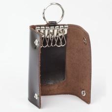 "Футляр для ключей BEFLER ""Classic"", натуральная кожа, две кнопки, 60x110х15 мм, коричневый, KL.3.-1"