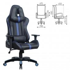 """Кресло компьютерное BRABIX """"GT Carbon GM-120"""", две подушки, экокожа, черное/синее, 531930"""