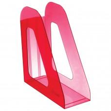 """Лоток вертикальный для бумаг СТАММ """"Фаворит"""" (235х240 мм), ширина 90 мм, тонированный темно-красный, ЛТ708"""