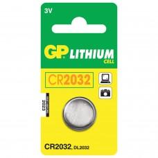 Батарейка GP Lithium, CR2032, литиевая, 1 шт., в блистере