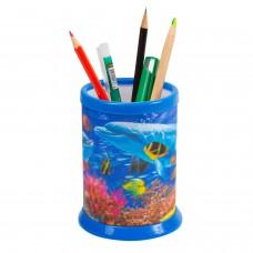 """Подставка-стакан для канцелярских принадлежностей BRAUBERG, 3D-эффект, """"Дельфины"""", D 87x106 мм, 236440"""