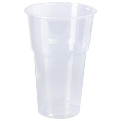 """Одноразовые стаканы 500 мл, КОМПЛЕКТ 20 шт., пластиковые, """"БЮДЖЕТ"""", прозрачные, ПП, холодное/горячее, ЛАЙМА, 600939"""