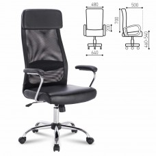 """Кресло офисное BRABIX """"Flight EX-540"""", хром, экокожа, сетка, черное, 531850"""