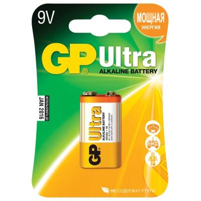 Батарейка GP Ultra, Крона (6LR61, 6LF22, 1604A), алкалиновая, 1 шт., в блистере, 1604AU-5CR1
