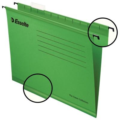 """Подвесные папки А4 (345х240 мм), до 300 листов, КОМПЛЕКТ 25 шт., зеленые, картон, ESSELTE """"Classic"""", 90318"""