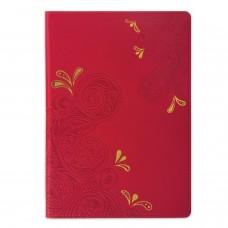 """Блокнот BRAUBERG, А5 (148х218 мм), """"Orient"""", 128 л., кожзаменитель с тиснением, клетка, красный, 128045"""