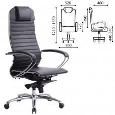 """Кресло офисное МЕТТА """"SAMURAI"""" K-1, кожа, черное"""