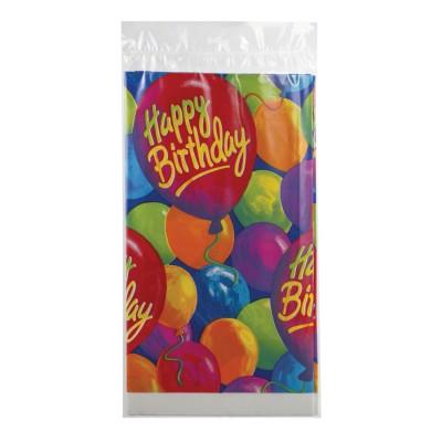 """Скатерть полиэтилен, 140х260 см, шары """"С днем рождения"""", 1502-0522"""