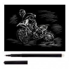 """Гравюра с эффектом серебра малая """"Мотоциклист-гонщик"""", 10х15 см, основа, штихель, LORI, Гр-135"""