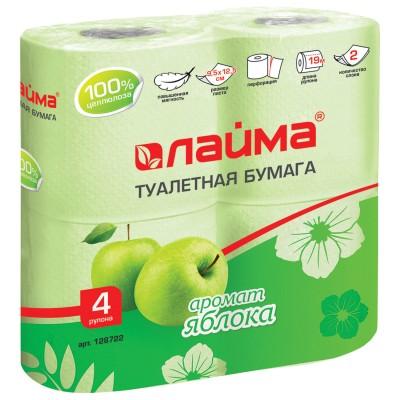 Бумага туалетная бытовая, спайка 4 шт., 2-х слойная (4х19 м), ЛАЙМА, аромат яблока, 128722