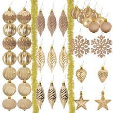 Набор украшений для ели ЗОЛОТАЯ СКАЗКА, 39 предметов, золотистый цвет, 591128