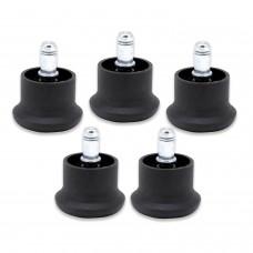 Опоры стационарные (глайдеры) для кресла, комплект 5 шт., пластиковые, шток d - 11 мм, цвет черный