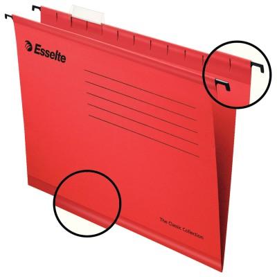 """Подвесные папки А4 (345х240 мм), до 300 листов, КОМПЛЕКТ 25 шт., красные, картон, ESSELTE """"Classic"""", 90316"""