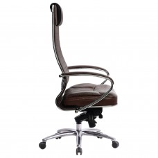 """Кресло офисное МЕТТА """"SAMURAI"""" KL-1, кожа, темно-коричневое"""