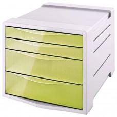 "Блок из 4 закрытых лотков для бумаги, настольный, ESSELTE ""Colour'Ice"", 285х245х365 мм, желтый, 626282"