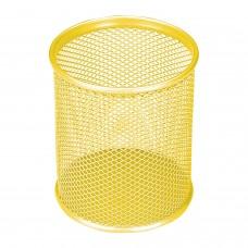 """Подставка-органайзер BRAUBERG """"Germanium"""", металлическая, круглое основание,100х89 мм, желтая, 231980"""