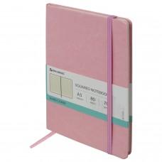"Блокнот А5 (148х218 мм), BRAUBERG ""Metropolis Special"", под кожу, резинка, 80 л., розовый, 111579"