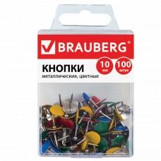 Кнопки канцелярские BRAUBERG, металлические, цветные, 10 мм, 100 шт., в пластиковой коробке, 221114