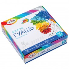 """Гуашь ГАММА """"Классическая"""", 16 цветов по 20 мл, без кисти, картонная упаковка, 22103016"""