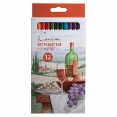 """Карандаши цветные экстрамягкие """"Сонет"""", 12 цветов, в картонная упаковка с европодвесом, 13441444"""