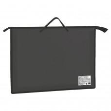 Папка для рисунков и чертежей А3, ручки-шнурок, пластик, молния сверху, ПИФАГОР, черная, 228230