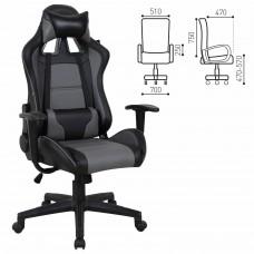 """Кресло компьютерное BRABIX """"GT Racer GM-100"""", две подушки, экокожа, черное/серое, 531926"""