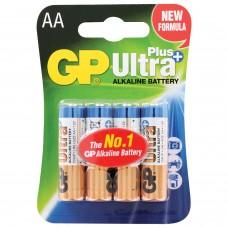Батарейки КОМПЛЕКТ 4 шт., GP Ultra Plus, AA (LR06, 15А), алкалиновые, пальчиковые, блистер, 15AUP-2CR4