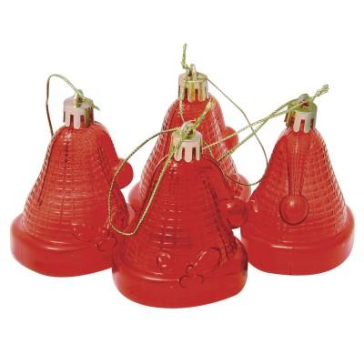 """Украшения елочные подвесные """"Колокольчики"""", НАБОР 4 шт., 6,5 см, пластик, полупрозрачные, красные, 59596"""