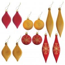 Набор украшений для ели ЗОЛОТАЯ СКАЗКА, пластик, 12 предметов, кейс, цвет красный/золото, 591109
