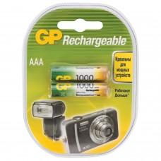 Батарейки аккумуляторные GP, AAA, Ni-Mh, 1000 mAh, комплект 2 шт., в блистере, 100AAAHC2DECRC2