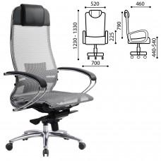 """Кресло офисное МЕТТА """"SAMURAI"""" S-1, сверхпрочная ткань-сетка, серое"""