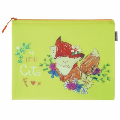 "Папка для тетрадей A4 BRAUBERG, мягкий, водонепроницаемая молния, ""Fox"", 34х26 см, 229261"