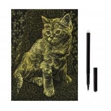 """Гравюра с эффектом золота """"Котёнок"""", 18х24 см, основа, штихель, LORI, Гр-051"""