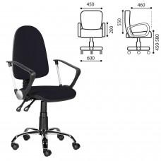 """Кресло """"Манго Люкс"""", С-109, с подлокотниками, хром, черное"""