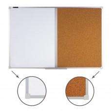 Доска комбинированная: магнитно-маркерная, пробковая для объявлений (60х90 см), РОССИЯ, BRAUBERG, 236864