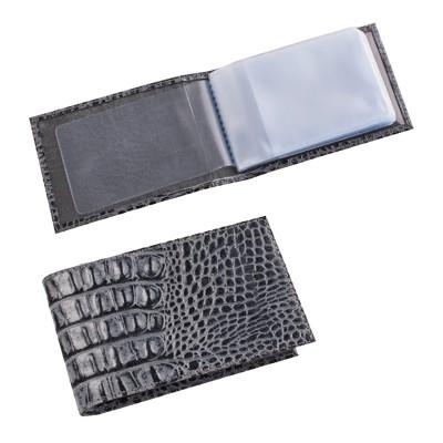 """Визитница карманная BEFLER """"Кайман"""", на 40 визитных карт, натуральная кожа, крокодил, серая, V.30.-13"""