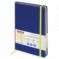"""Блокнот А5 (148x218 мм), BRAUBERG """"Office"""", под кожу, резинка, 80 л., синий, 111028"""