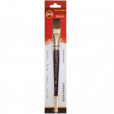 Кисть художественная KOH-I-NOOR колонок, плоская, №16, короткая ручка, блистер, 9936016010BL