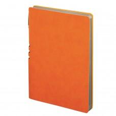 "Блокнот А5 (140x200 мм), BRAUBERG ""NEBRASKA"", 112 л., гибкий кожзам, ручка, линия, оранжевый, 110951"