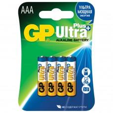 Батарейки КОМПЛЕКТ 4 шт., GP Ultra Plus, AAA (LR03, 24А), алкалиновые, мизинчиковые, блистер, 24AUP-2CR4