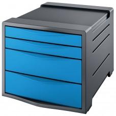"""Блок из 4 закрытых лотков для бумаги, настольный, ESSELTE """"VIVIDA"""", 285х245х365 мм, синий, 623961"""