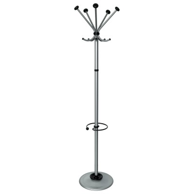 """Вешалка-стойка """"Квинтет ТМК-2"""", 1,91 м, диск 46 см, 5 крючков + место для зонтов, металл, серебристая"""