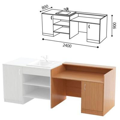 Стол (ПАКЕТ 2) для кабинета химии, 2400х800х900 мм, ЛДСП бук/пластик