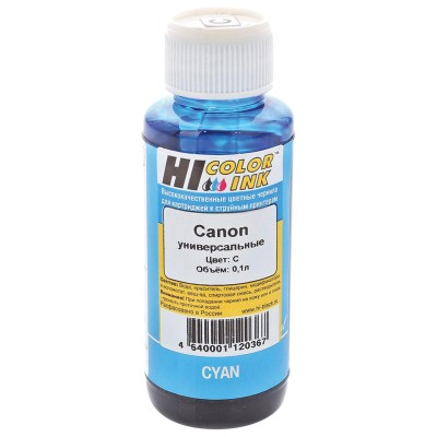 Чернила HI-COLOR для CANON универсальные, голубые, 0,1 л, водные, 150701090U