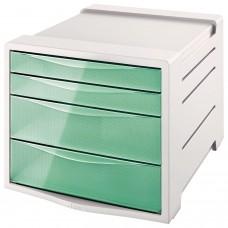 "Блок из 4 закрытых лотков для бумаги, настольный, ESSELTE ""Colour'Ice"", 285х245х365 мм, зеленый, 626285"