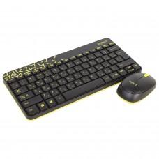 Набор беспроводной LOGITECH Wireless Combo MK240, клавиатура, мышь 2 кнопки + 1 колесо-кнопка, чёрно-жёлтый, 920-008213