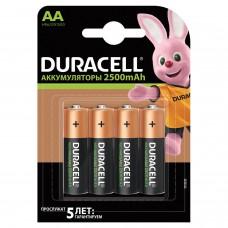 Батарейки аккумуляторные DURACELL, АА (HR06), Ni-Mh, 2500 mAh, КОМПЛЕКТ 4 шт., в блистере, 81472345