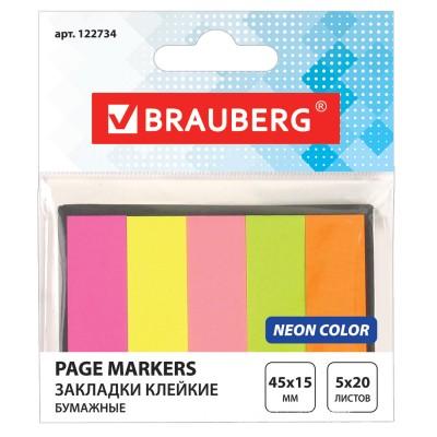 Закладки клейкие BRAUBERG НЕОНОВЫЕ бумажные, 45х15 мм, 5 цветов х 20 листов, в картонной книжке, 122734