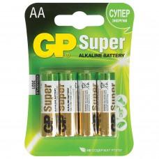 Батарейки КОМПЛЕКТ 4 шт., GP Super, AA (LR06, 15А), алкалиновые, пальчиковые, блистер