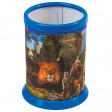 """Подставка-стакан для канцелярских принадлежностей BRAUBERG, 3D-эффект, """"Дикие животные"""", D 87x106 мм, 236441"""